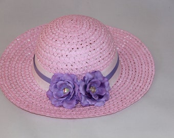 Tea Party Hat - Pink Easter Bonnet with White and Lavender Ribbons - Girls Sun Hat - Pink Easter Hat - Sunday Dress Hat - Derby Hat - 1628