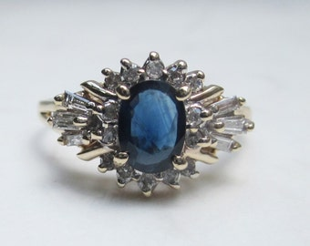 Vintage Oval Cut Genuine Blue Sapphire and Diamond Halo Ring Set in 14k Solid Yellow Gold, Size 7.5