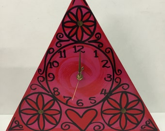 Hot pink wooden triangle clock