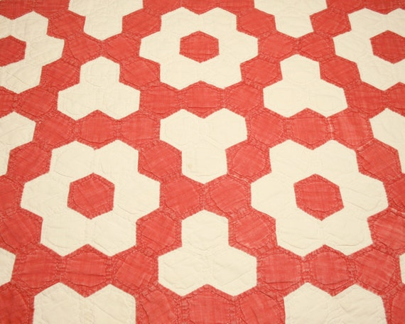 Red and cream grandmother 39 s flower garden by chenillebliss on etsy for Grandmother flower garden quilt pattern variations