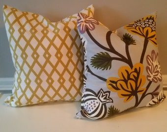 Robert Allen Fret Pillow Cover, Citrine, 18x18, Ready to Ship, by Sew Custom Designs