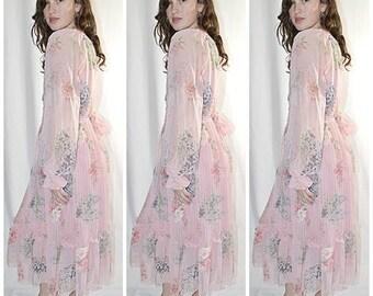 Vintage 1970s Pat Richards I Magnin Feminine Delicate Pink Floral Chiffon Party Dress With Slip Sz M/L