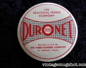 "DURONET Vintage Collectible Tennis Mirror Probably 40'-50's Tennis Net Abbey-Scherer Company 3 1/2"""