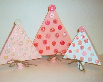 Set of 3 Shabby Chic Pink and White Distressed Wood Christmas Trees with Vintage Buttons