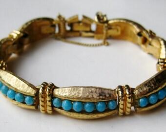 Vintage 60s Goldette Florenza Style Turquoise Blue & Gold Panel Link Bracelet