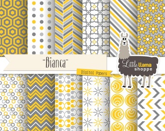 Yellow and Gray Digital Paper Pack, Geometric Patterns, INSTANT DOWNLOAD, Commercial Use, 8.5x11 and 12x12