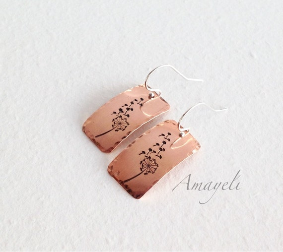 Dandelion earrings, copper earrings, rectangle earrings, hand stamped jewelry, silver earrings, drop earrings, flower earrings, metal earrin