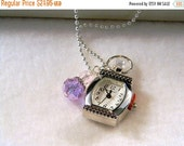 ON SALE Watch Pendant Necklace, Watch Pendant Charm, Purple Charm, Birthstone