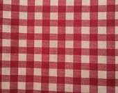 Red Natural Gingham Print Cotton Fabric 1 1/4 Yards X0512 Primitive Look, Rustic