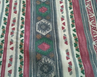 Burgundy, Blue and Green Striped Decorator Fabric 2 Yards X0615