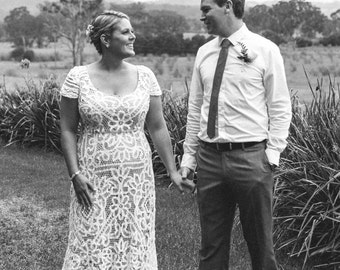 BON VIVANT Vintage Battenburg lace silk wedding dress