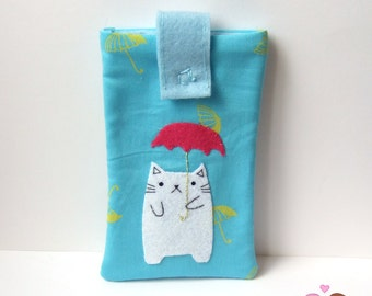 Cat with umbrella smartphone pouch, iphone case, android phone sleeve green Mobile phone pouch pink pineapple