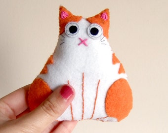 White and Orange fat cat plushie