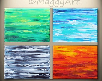art acrylic painting abstract textured, four seasons, impasto, pallette knife art, office home decor,Free Shipping in US,on sale