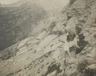 French Antique Photo - Young Woman Climbing a Mountain