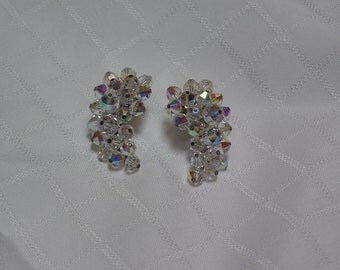 Laguna aurora borealis curved crystal clip earrings