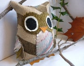 Robert the Owl - 8 Inch Plush Owl Made From Salvaged and Re-Purposed Fabric