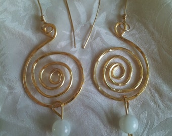 Moonstone and Gold Celtic Earrings