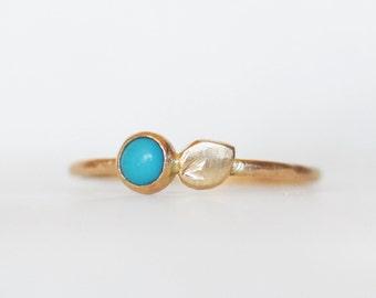 Turquoise Petal Stacking Ring - 14k Gold Stacking Ring - Botanical Stack
