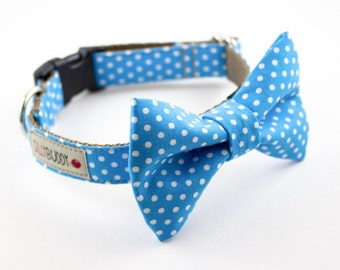 Blue Polka Dot Bowtie Dog Collar