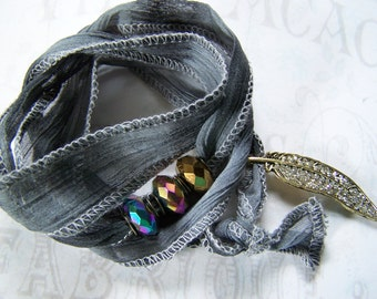 Wrap Bracelet with Charms Gray Ombre