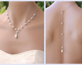 Pearl Back Drop Necklace, Swarovski Pearl Bridal Necklace, Y Necklace & Back Drop - Option,  Bridesmaid Jewelry, VANESSA