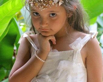 Pearl Flower girls Bracelet, Girls Swarovski Pearl Bracelet, Junior Bridesmaids Pearl Bracelet, Carmen FG