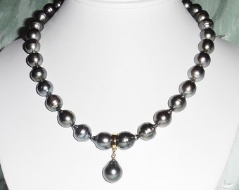 """12mm Silver Gray Tahitian cultured Pearls Necklace and 14kt gold Enhancer  17 3/4"""""""
