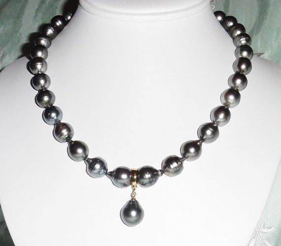 """Genuine 12mm Silver Gray Tahitian cultured Pearls Necklace and 14kt gold Enhancer  17 3/4"""""""