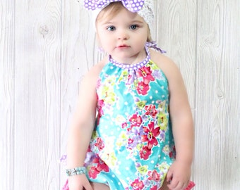 Girls Ruffled Halter Bubble Romper Sunsuit Bright Floral Toddler Infant Girls