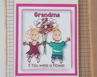 Grandma Birthday Card - Cute Birthday Card for Grandmother - Birthday Card for Grandma - Flower Birthday Card and Matching Envelope