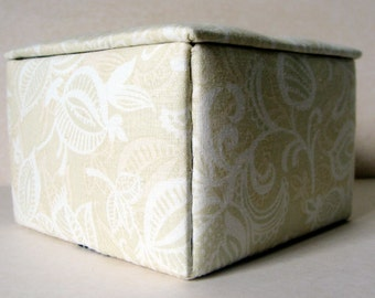 Cream jewelry box , fabric jewelry box, keepsakes box, decorative storage box