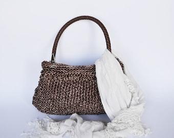 Handbag knitted bag Wedding purse Shoulder bag Summer city bag Ladies handbag