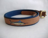Blue Marlin Embroidered Leather and Canvas Belt; Zep-Pro; Size 44