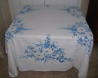 "Large Vintage Blue and White Tablecloth, 71"" x 56"""