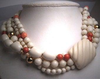 Vintage Faux Coral Choker Necklace Napier Designer