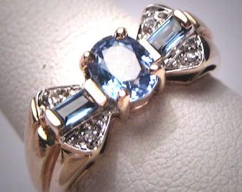 Vintage Sapphire Diamond Wedding Ring Retro Art Deco Gold Engagement