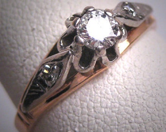 Antique Platinum Diamond Wedding Ring Vintage Art Deco Russian 1930 Engagement
