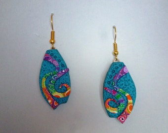 Marquis Earrings in Polymer Clay Rainbow and Teal Blue Aqua