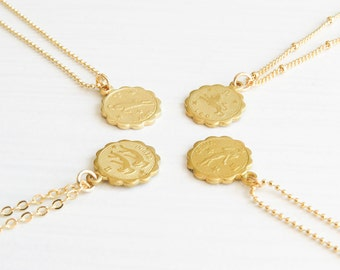 Zodiac Necklace Gold | Horoscope Necklace | Custom Zodiac Necklace | Dainty Zodiac Necklace | Scorpio Necklace | October Birthday Gift