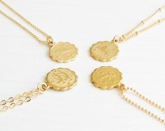 Dainty Zodiac Necklace | Zodiac Necklace | Delicate Zodiac Necklace | Gold Zodiac Necklace | Horoscope Necklace | Pisces Necklace