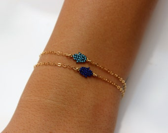 Hamsa Bracelet - Turquoise or Sapphire Blue Pave Hamsa Bracelet - Gold Over Sterling Silver - Good Luck Jewelry, Faith, Protection Jewelry