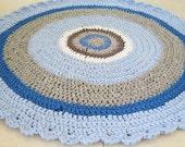 Crochet rug , kids rug , boy nursery rug , modern rug , round rug , doily rug