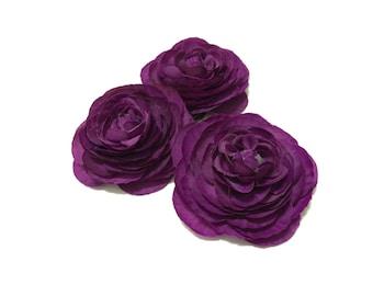 Purple Mini Ranunculus Flowers - SMALLER SIZE - Artificial Flowers, Silk Flowers, Wedding