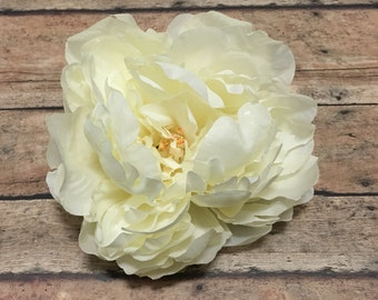 Large CREAM Peony - 5.5 Inches - Artificial Flower, Silk Flower, Hair Accessories, Millinery, Flower Crown