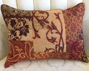 SCROLLS MOTIF TAPESTRY Pillow. 13x18.  Shades of gold, brown, burgundy in a scroll design. Suitable for any decor. Elegant, masculine touch.