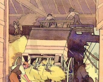 Haymaking, Hay Loft,  Rural Scene, Haymakers,  Country Life, Traditional Work, 1920s, Art Print