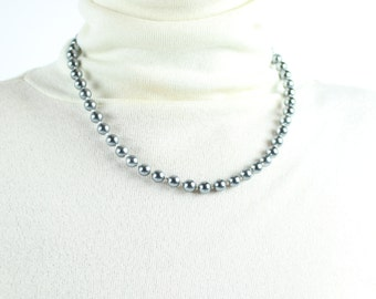 VINTAGE Beaded Necklace Ice Blue Silver Metallic