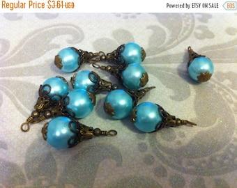 SALE BD604  VINTAGE Style capped pendant dangle Aqua blue Faux glass pearl with antique brass 2pcs..