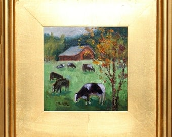 Art & Collectibles, Cows in Pasture, Original Oil Painting, Small Painting, with Frame, Cow Herd, Farm Scene, Gold Frame, Country, Landscape